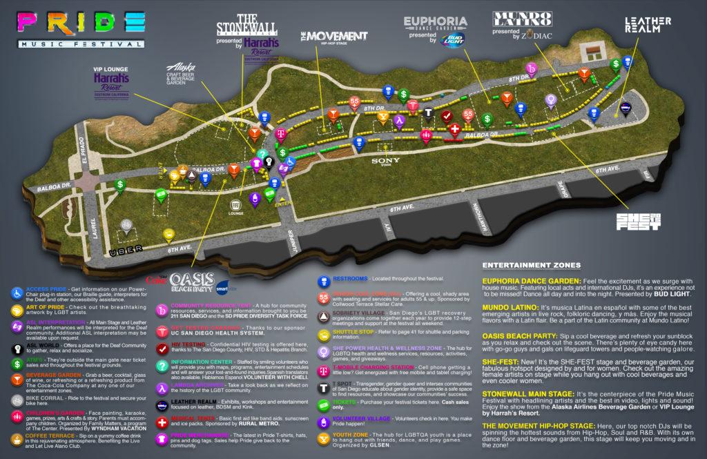 2015 Pride Music Festival Map