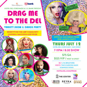 Image Description: Drag Me To The Del Flyer including drag queens mug shots and lots of colors.